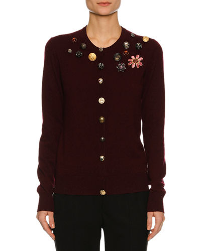 Button-Embellished Cashmere Cardigan