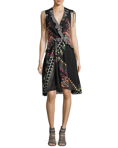 Etro Sleeveless Lace-Trim Paisley High-Low Dress