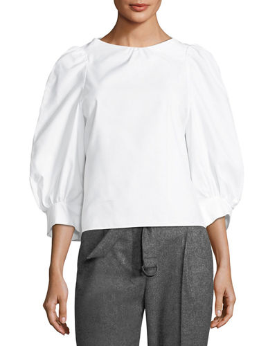 Florentine Puff-Sleeve Cotton-Linen Blouse