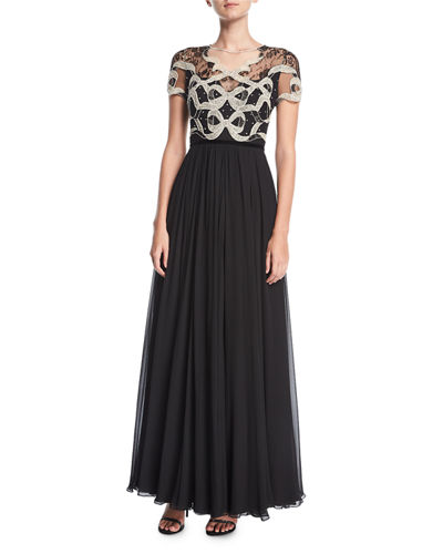 Jenny Packham Crystal-Beaded & Lace Short-Sleeve Gown