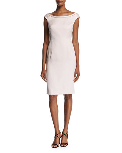 Escada Duchesse Satin Boat-Neck Cap-Sleeve Sheath Dress