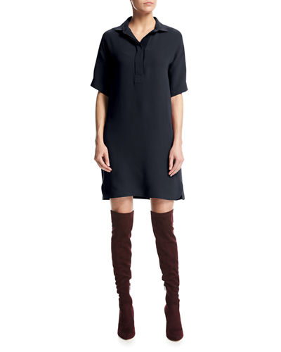 Bess Short-Sleeve Silk Shirtdress