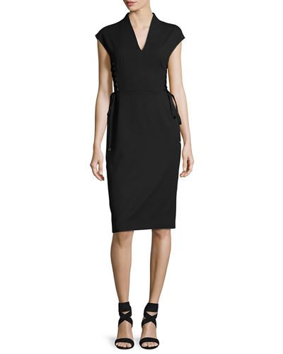 Bartolini Lace-Up Side Sheath Dress