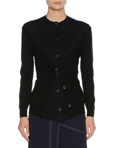 Bicolor Layered Virgin Wool Cardigan