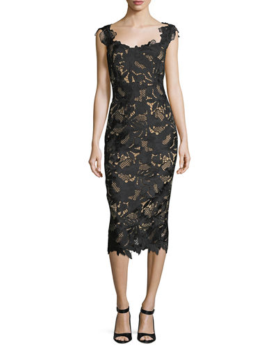 Lela Rose Scoop-Neck Guipure Lace Midi Dress