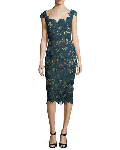 Scoop-Neck Guipure Lace Midi Dress