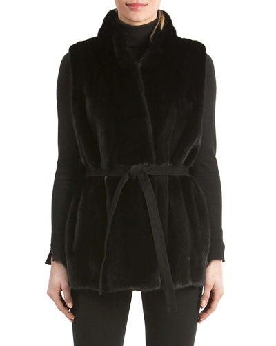 Mink Fur Vest with Suede Belt