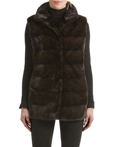 Mink Fur Vest with Quilted Back
