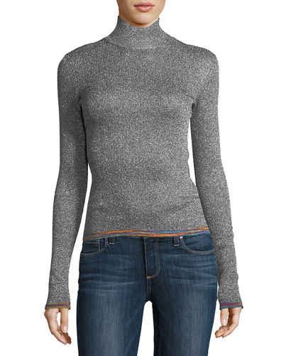 Lamé Mock-Neck Sweater with Contrast Tipping