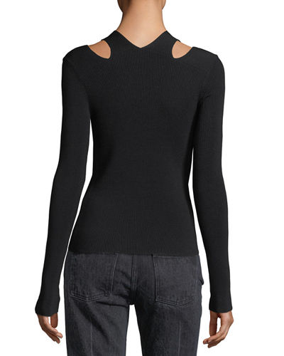Stretch-Knit Slit V-Neck Sweater