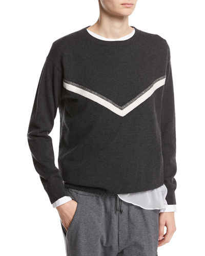 Brunello Cucinelli Cashmere Pullover with Monili Alpine Stripe