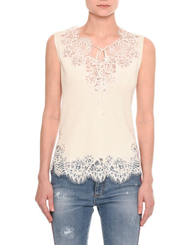 Pashmina Lace-Inset Tie-Neck Top