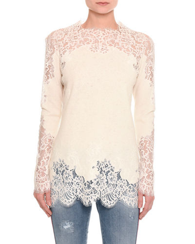 Pashmina Lace-Inset Long-Sleeve Top
