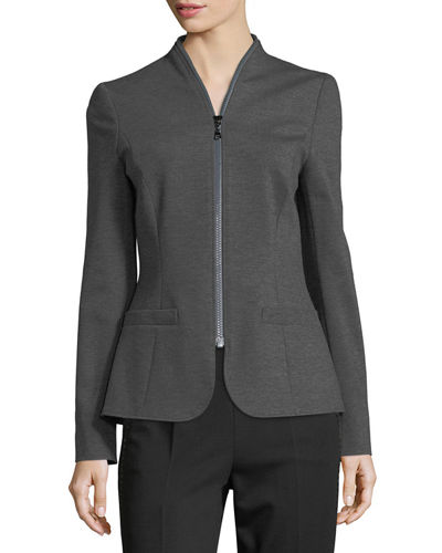 Zip-Around Jersey Jacket