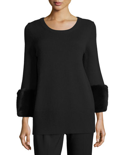 Michael Kors Collection Cashmere CN Mink Cuff Pullov