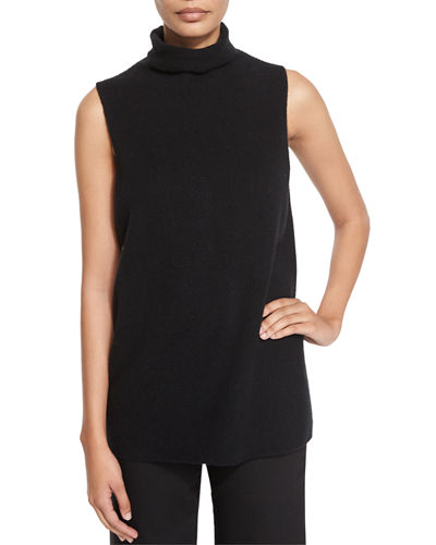 Leona Sleeveless Funnel-Neck Sweater