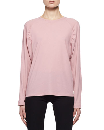 Ruched-Shoulder Raglan T-Shirt