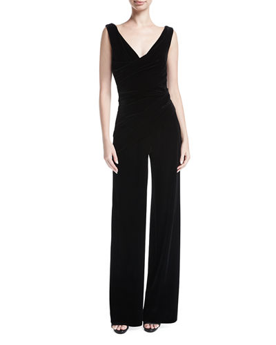 Hilden Ruched Velvet V-Neck Jumpsuit