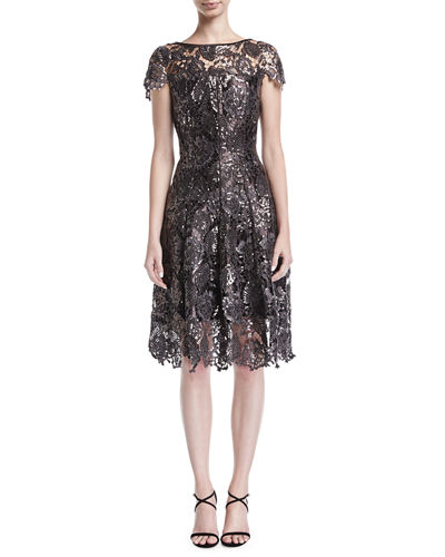 Noix Sequined Guipure Lace Cap-Sleeve Cocktail Dress