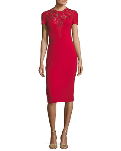 Jewel-Neck Short-Sleeve Crepe Cocktail Dress with Lace