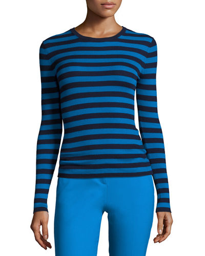 Striped Long-Sleeve Crewneck Sweater