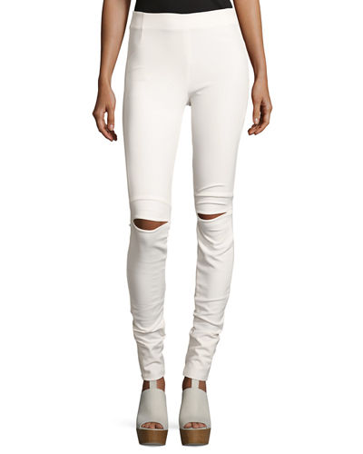 Slit-Knee Stretch Ponte Leggings