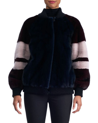 MINK JACKET WITH COLOR BLOCK