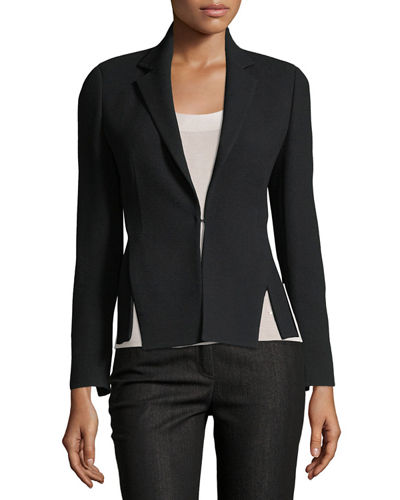 Hook-Front Wool-Crepe Tailored Blazer