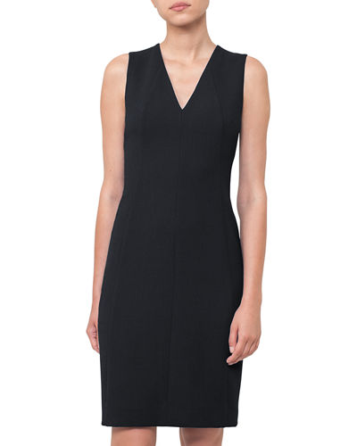 V-Neck Sleeveless Wool-Crepe Sheath Dress