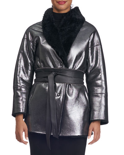 Shearling Fur-Lined Shawl-Collar Coat