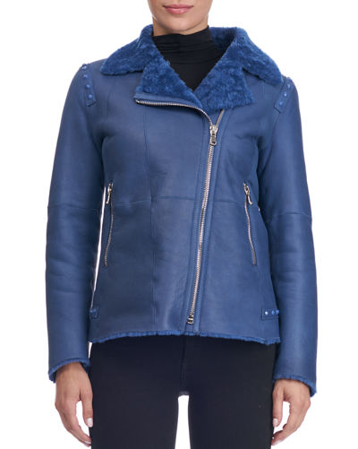 Shearling Fur-Lined Moto Jacket