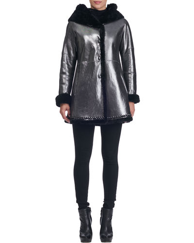 Hooded Fur-Lined Lambskin Coat