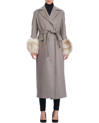 Belted Wool Blend Wrap Coat With Fur Cuffs by Giuliana Teso