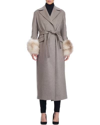 Giuliana Teso Belted Wool-Blend Wrap Coat with Fur