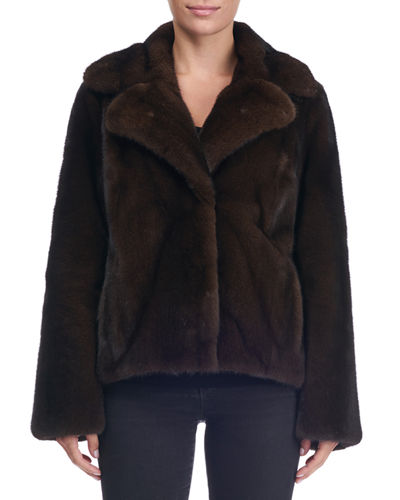Mink Fur Notch-Collar Jacket
