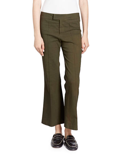 Lyre Flat-Front Flared Crop Cotton-Blend Pants