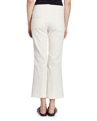 Flat-Front Flared Crop Cotton-Blend Pants