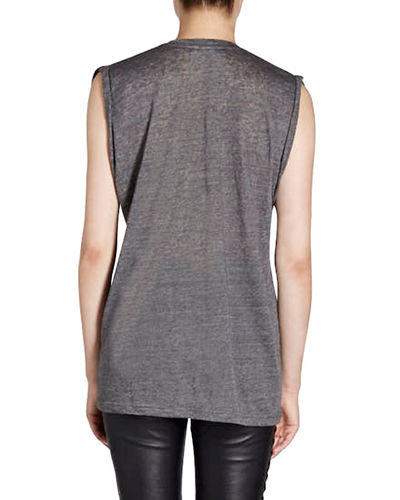 Maik Scoop-Neck Sleeveless Linen Tank