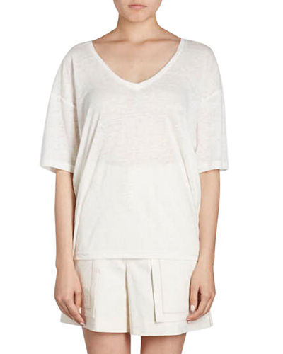 Maree V-Neck Short-Sleeve Linen T-Shirt