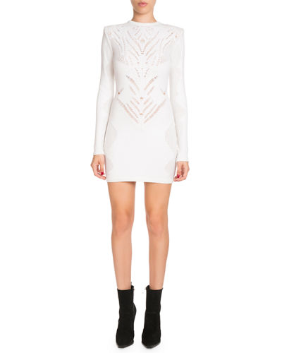 High-Neck Long-Sleeve Knit Lace Short Dress
