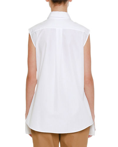 Spread-Collar Sleeveless Button-Front Shirt with Shaped Peplum