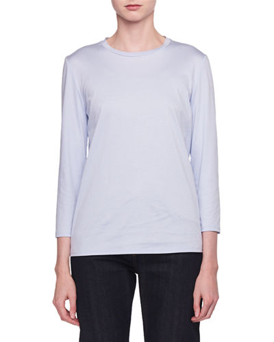 Mave Crewneck 3/4-Sleeve Cotton Top