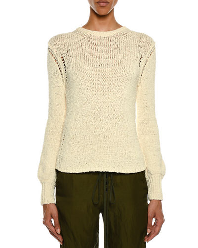 Crewneck Long-Sleeve Knit Sweater