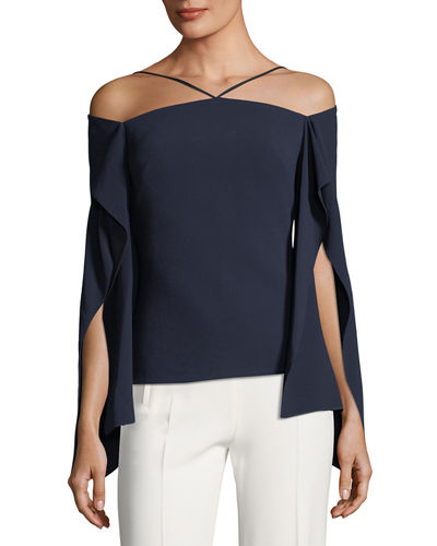 Frickley Halter Split-Sleeve Crepe Top