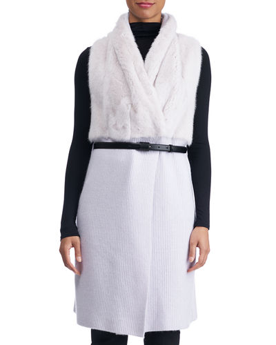 Belted Long Cashmere Vest with Mink Fur