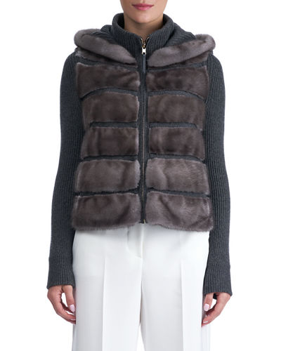 Cashmere Hooded Jacket with Horizontal Mink