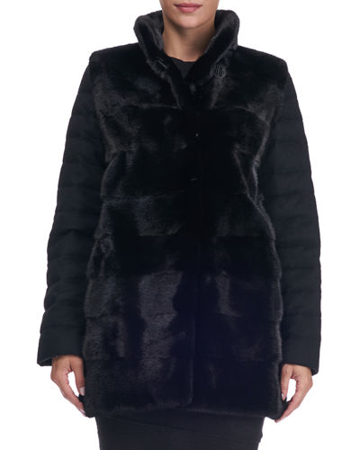 Horizontal Mink Fur Jacket with Cashmere Quilted Down Back
