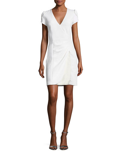Puff-Sleeve Ruched Dress