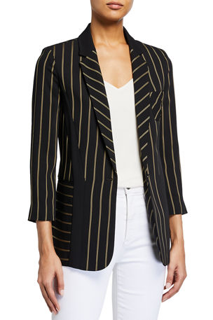 Emporio Armani Striped Cady One-Button Relax Fit Jacket