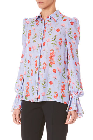 Carolina Herrera Lace Puff-Sleeve Blouse
